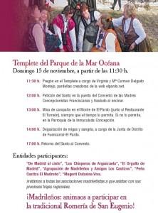 Programa de la Romería de San Eugenio 2015. El Pardo